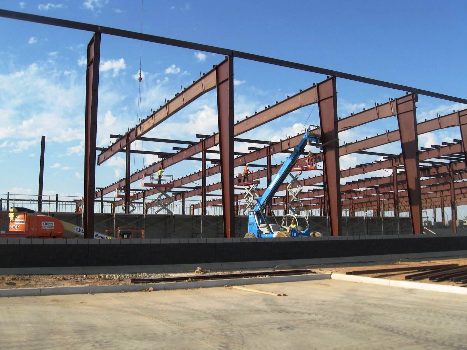 Steel building being built by Bunger Steel