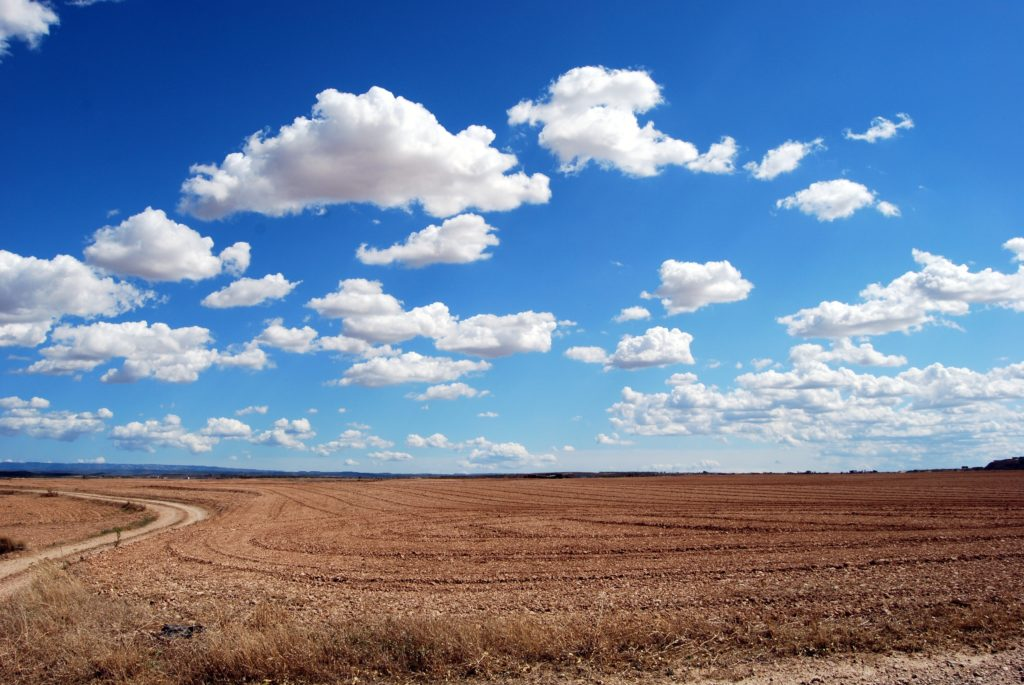 Open dirt field with bright blue sky and fluffy clouds