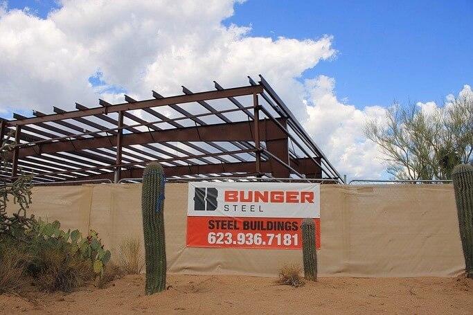 Bunger Steel Banner at job site