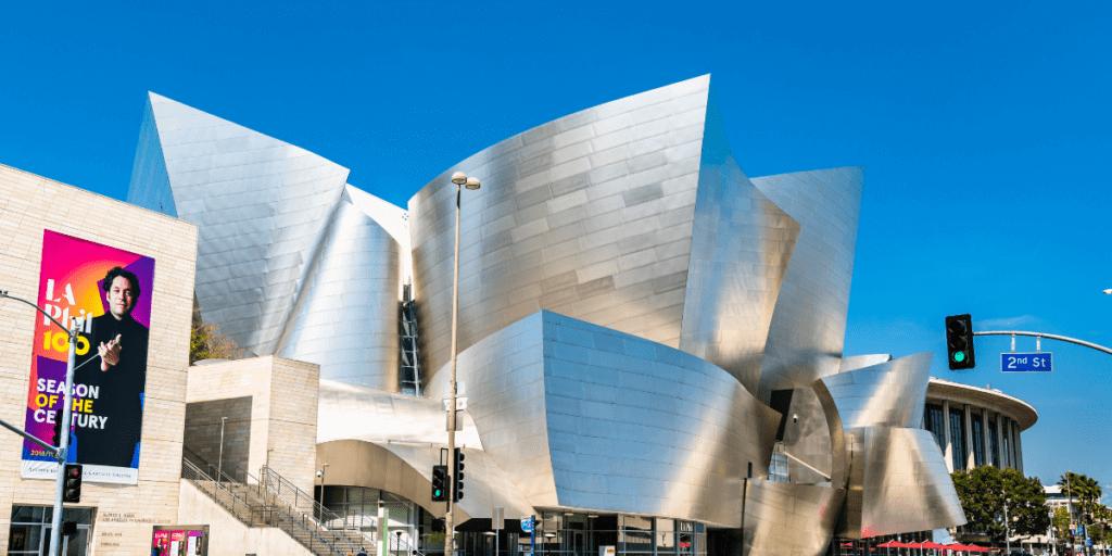 Exterior of The Walt Disney Concert Hall in California